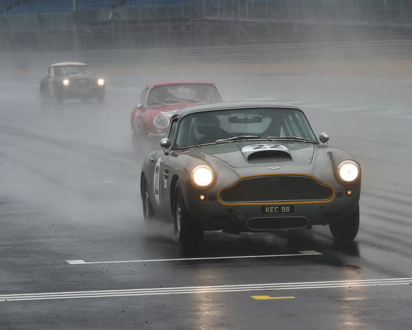 Les Goble, George Miller, Aston Martin DB4 GT, Royal Automobile Club Tourist Trophy, for Historic cars, pre 63 GT, Silverstone Classic, Silverstone, Northamptonshire, circuit racing, cjm-photography, Classic Racing Cars, competition