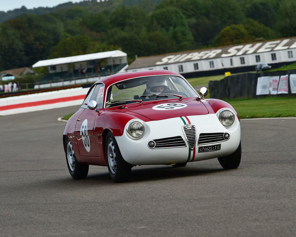 Sharon Adelman, Alfa Romeo Giulietta Sprint Zagato, Fordwater Trophy, Road going sports and GT cars, 1960 to 1966, Goodwood Revival 2019, September 2019, automobiles, cars, circuit racing, Classic, competition, England, entertainment