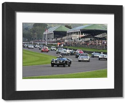 John Young, Jaguar XK120, leads away, Fordwater Trophy, Goodwood Revival 2015, 50's, 60's, 2015, Chris McEvoy, CJM Photography, classic cars, Fifties, Goodwood, Goodwood Revival, Goodwood Revival 2015, historic cars, Historic Racing, Lord March