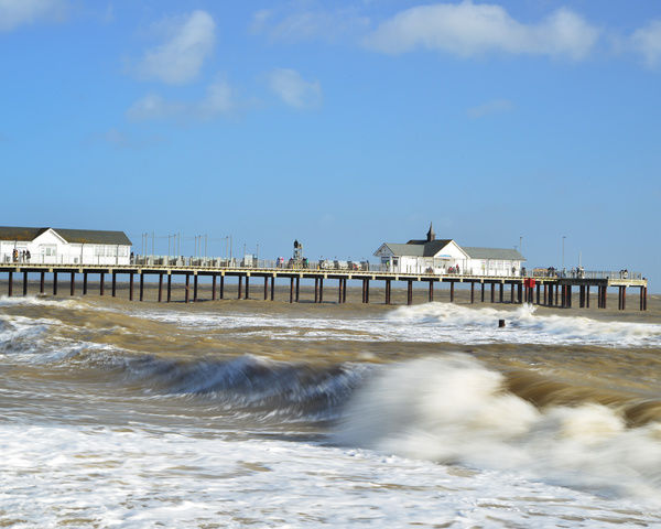 Crashing waves, Southwold pier, A weekend in Suffolk, October 2017. England, Suffolk, Great Britain, outdoors, nature, countryside, autumn, autumn, blue sky, countryside, East Anglia, England, Great Britain, nature, outdoors, Southwold pier