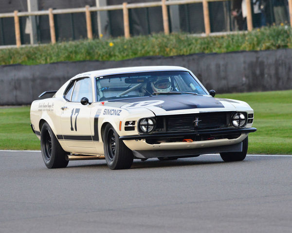 Bill Shepherd, Romain Dumas, Ford Mustang Boss 302, Gerry Marshall Trophy, Group 1 Saloon cars, 1970 to 1982, 77th Members Meeting, Goodwood, West Sussex, England, April 2019, Autosport, cars, circuit racing, classic cars, competition, England