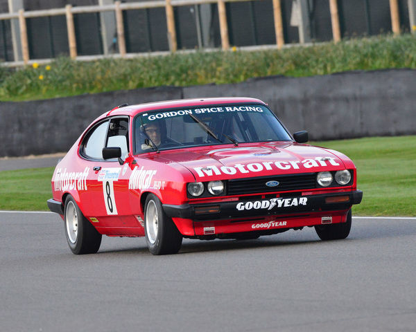 Mike Whitaker, Mike Jordan, Ford Capri III 3 litre S, Gerry Marshall Trophy, Group 1 Saloon cars, 1970 to 1982, 77th Members Meeting, Goodwood, West Sussex, England, April 2019, Autosport, cars, circuit racing, classic cars, competition, England