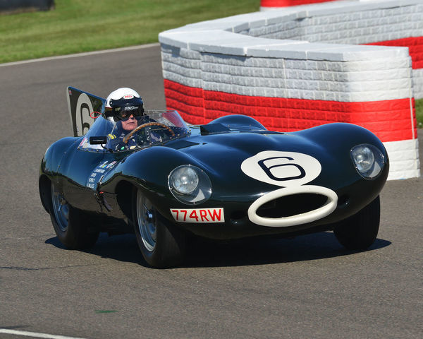 John Young, Jaguar D type, Long nose, Sussex Trophy, World Championship sports cars, Production Sports racing cars, 1955 to 1960, Goodwood Revival 2019, September 2019, automobiles, cars, circuit racing, Classic, competition, England