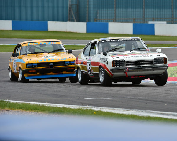 John Spiers, Neil Merry, Ford Capri, Peter Ratcliff, Graham Scarborough, Ford Capri, HTCC, Historic Touring Car Challenge, Tony Dron Trophy, Donington Historic Festival, 2017, motor racing, motor sport, motorsport, Nostalgia, racing, racing cars