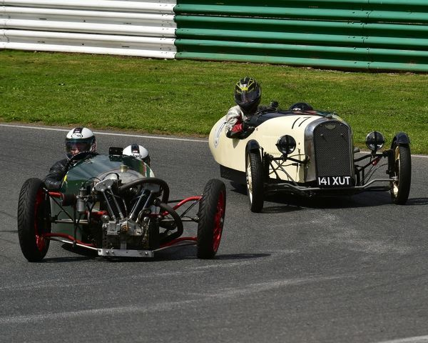Nigel Challis, Sarah Challis, Super Sports JAP 8/8, Nicholas Clegg, Annette Grey, F2 Ford E93A, Morgan Three Wheeler Club Challenge Trophy Race, VSCC, Formula Vintage, Round 4, Mallory Park, 12th August 2017, Chris McEvoy, circuit racing, CJM Photography