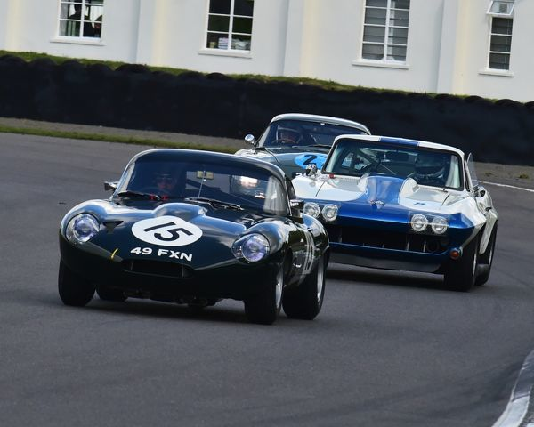 Adam Lindemann, Joe Twyman, Jaguar E-Type lightweight lowdrag coupe, Craig Davies, Jason Plato, Chevrolet Corvette Sting Ray, RAC TT Celebration, Closed cockpit GT cars, Goodwood Revival 2017, September 2017, automobiles, cars