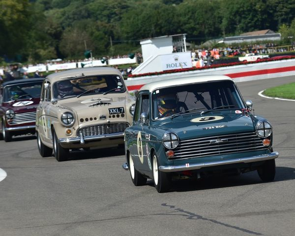 Michael Caine, Rob Myers, Austin A40, Jason Plato, Austin A95 Westminister, St Mary's Trophy, production saloons, Goodwood Revival 2017, September 2017, automobiles, cars, circuit racing, Classic, competition, England, entertainment, event, Goodwood