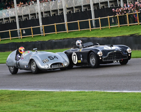 Rob Hall, Aston Martin DB3, Chris Ward, Cooper Jaguar T33, Freddie March Memorial Trophy, Sports Racing Cars, Goodwood Revival 2017, September 2017, automobiles, cars, circuit racing, Classic, competition, England, entertainment, event, Goodwood