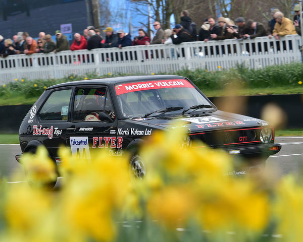 Jim Morris, Tom Shephard, Volkswagen Golf GTi Mk1, Gerry Marshall Trophy, Group 1 Saloon cars, 1970 to 1982, 77th Members Meeting, Goodwood, West Sussex, England, April 2019, Autosport, cars, circuit racing, classic cars, competition, England