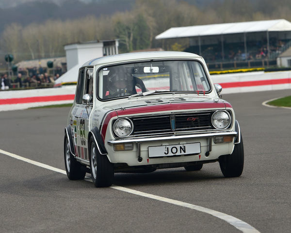 Mark Burnett, Anthony Reid, Mini 1275 GT, Gerry Marshall Trophy, Group 1 Saloon cars, 1970 to 1982, 77th Members Meeting, Goodwood, West Sussex, England, April 2019, Autosport, cars, circuit racing, classic cars, competition, England, fast, Fun