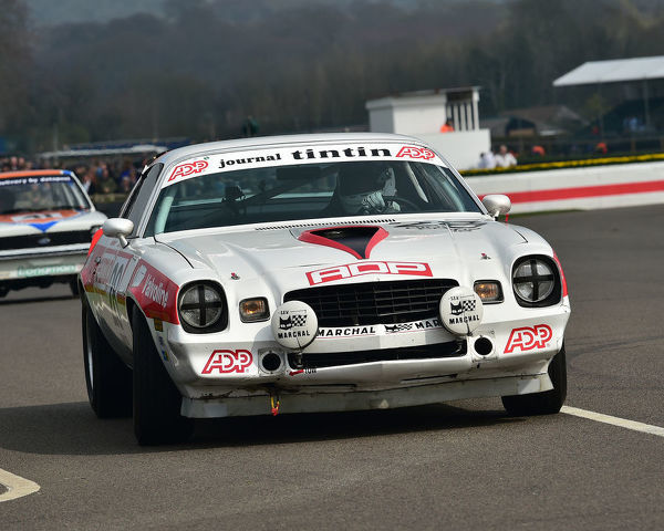 Tom Kristensen, Jack Tetley, Chevrolet Camaro Z28, Gerry Marshall Trophy, Group 1 Saloon cars, 1970 to 1982, 77th Members Meeting, Goodwood, West Sussex, England, April 2019, Autosport, cars, circuit racing, classic cars, competition, England