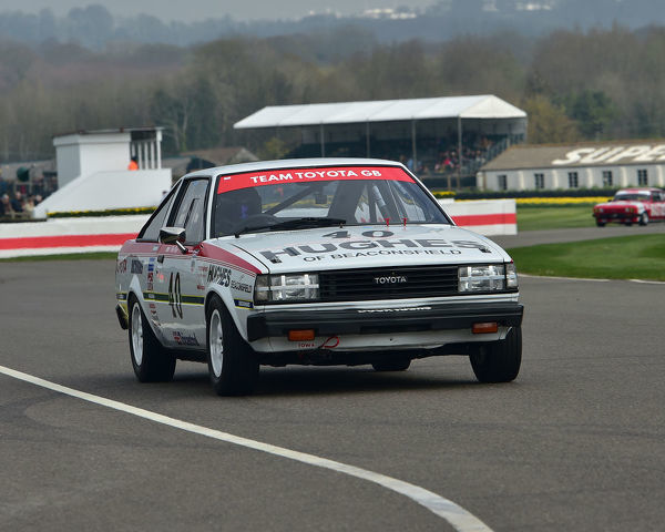 Tiff Needell, Toyota Corolla 1600GT Coupe, Gerry Marshall Trophy, Group 1 Saloon cars, 1970 to 1982, 77th Members Meeting, Goodwood, West Sussex, England, April 2019, Autosport, cars, circuit racing, classic cars, competition