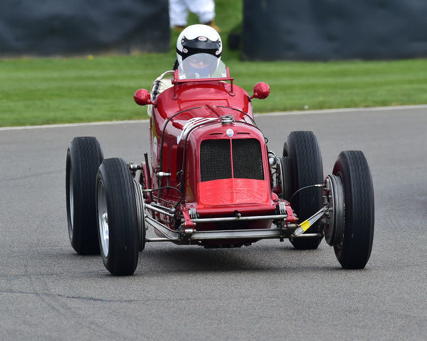Simon Edwards, Maserati 4CM, Parnell Cup, Grand Prix cars, Voiturette cars, 1935 to 1953, 77th Members Meeting, Goodwood, West Sussex, England, April 2019, Autosport, cars, circuit racing, classic cars, competition, England, fast
