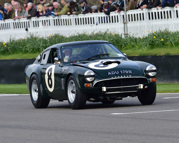 Nigel Greensall, Chris Beighton, Sunbeam Lister Tiger, Graham Hill Trophy, Closed cockpit GT cars, Prototype cars, Spirit of the RAC TT Races 1960-1964, 77th Members Meeting, Goodwood, West Sussex, England, April 2019, Autosport, cars, circuit racing