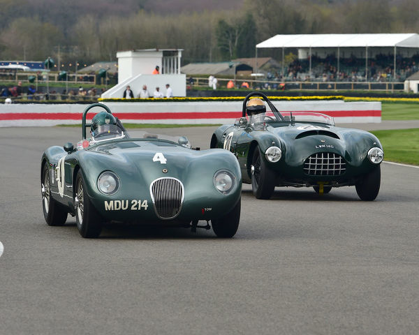 Nigel Webb, Jaguar C-Type, Nigel Webb, Jaguar C-Type, Simon Diffey, Jaguar XK140, Gomm Jaguar Special, Peter Collins trophy, Sports Racing Cars, 1948 to 1955, 77th Members Meeting, Goodwood, West Sussex, England, April 2019, Autosport, cars