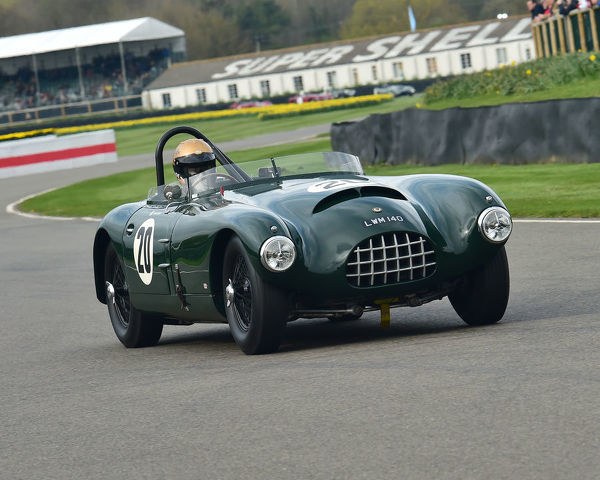 Simon Diffey, Jaguar XK140, Gomm Jaguar Special, Peter Collins trophy, Sports Racing Cars, 1948 to 1955, 77th Members Meeting, Goodwood, West Sussex, England, April 2019, Autosport, cars, circuit racing, classic cars, competition, England, fast