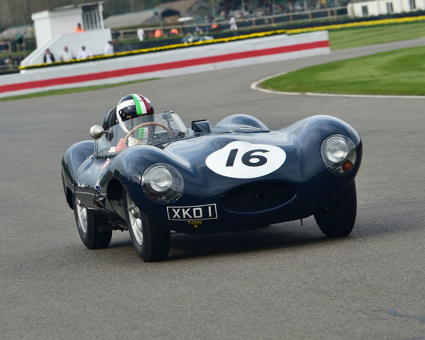 Marino Franchitti, Jaguar D type, Peter Collins trophy, Sports Racing Cars, 1948 to 1955, 77th Members Meeting, Goodwood, West Sussex, England, April 2019, Autosport, cars, circuit racing, classic cars, competition, England, fast, Fun, Goodwood