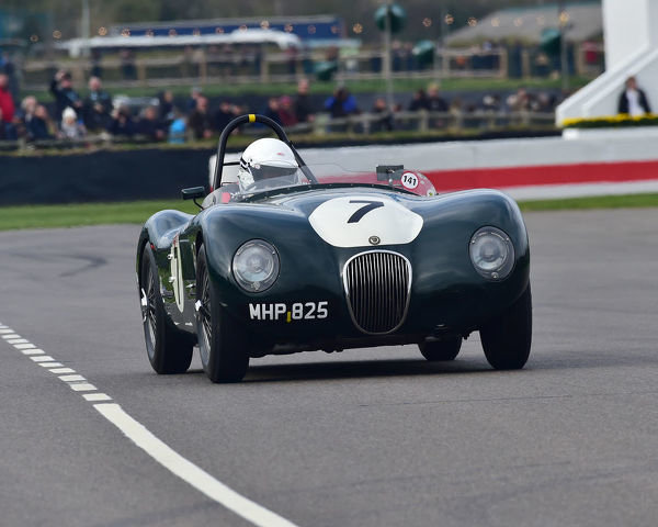Guy Broad, Jaguar C-Type, Peter Collins trophy, Sports Racing Cars, 1948 to 1955, 77th Members Meeting, Goodwood, West Sussex, England, April 2019, Autosport, cars, circuit racing, classic cars, competition, England, fast, Fun
