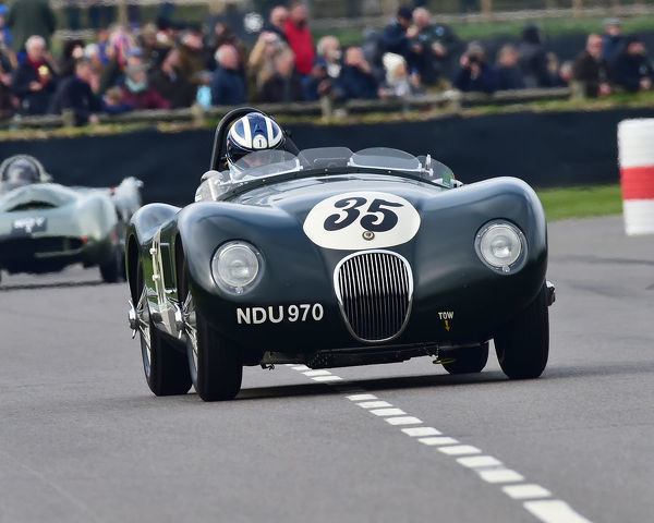 Frederic Wakeman, Jaguar C-Type, Peter Collins trophy, Sports Racing Cars, 1948 to 1955, 77th Members Meeting, Goodwood, West Sussex, England, April 2019, Autosport, cars, circuit racing, classic cars, competition, England, fast