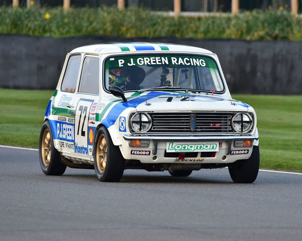 Jason Brooks, Michael Caine, Mini 1275 GT, Gerry Marshall Trophy, Group 1 Saloon cars, 1970 to 1982, 77th Members Meeting, Goodwood, West Sussex, England, April 2019, Autosport, cars, circuit racing, classic cars, competition