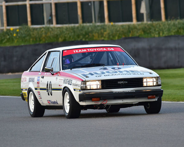 Tiff Needell, Toyota Corolla 1600GT Coupe, Gerry Marshall Trophy, Group 1 Saloon cars, 1970 to 1982, 77th Members Meeting, Goodwood, West Sussex, England, April 2019, Autosport, cars, circuit racing, classic cars, competition, England, fast