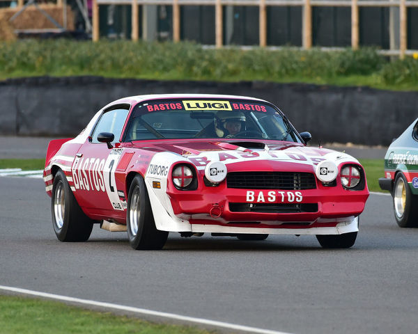 David Clark, Emanuele Pirro, Chevrolet Camaro Z28, Gerry Marshall Trophy, Group 1 Saloon cars, 1970 to 1982, 77th Members Meeting, Goodwood, West Sussex, England, April 2019, Autosport, cars, circuit racing, classic cars, competition, England