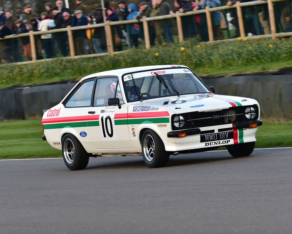 Kerry Michael, Tom Blomqvist, Ford Escort Mk2 RS 2000, Gerry Marshall Trophy, Group 1 Saloon cars, 1970 to 1982, 77th Members Meeting, Goodwood, West Sussex, England, April 2019, Autosport, cars, circuit racing, classic cars, competition, England