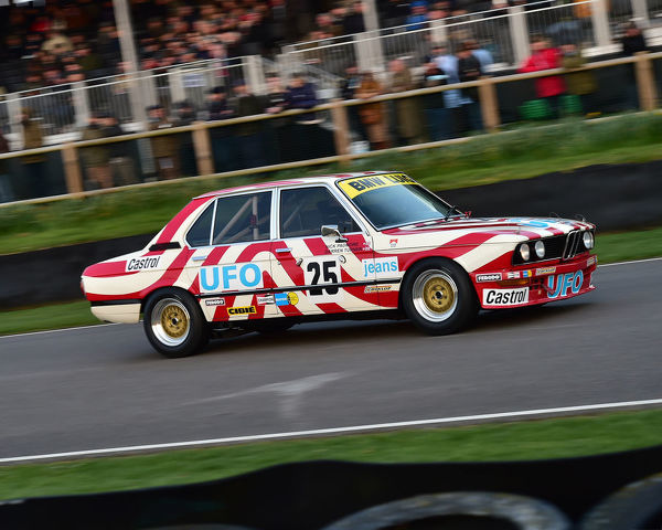 Darren Turner, Nick Padmore, BMW 530i, Gerry Marshall Trophy, Group 1 Saloon cars, 1970 to 1982, 77th Members Meeting, Goodwood, West Sussex, England, April 2019, Autosport, cars, circuit racing, classic cars, competition, England, fast, Fun
