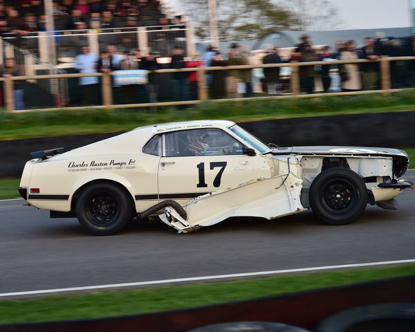 Bill Shepherd, Romain Dumas, Ford Mustang Boss 302, Gerry Marshall Trophy, Group 1 Saloon cars, 1970 to 1982, 77th Members Meeting, Goodwood, West Sussex, England, April 2019, Autosport, cars, circuit racing, classic cars, competition