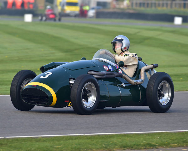Spike Milligan, Connaught A type, Parnell Cup, Grand Prix cars, Voiturette cars, 1935 to 1953, 77th Members Meeting, Goodwood, West Sussex, England, April 2019, Autosport, cars, circuit racing, classic cars, competition, England