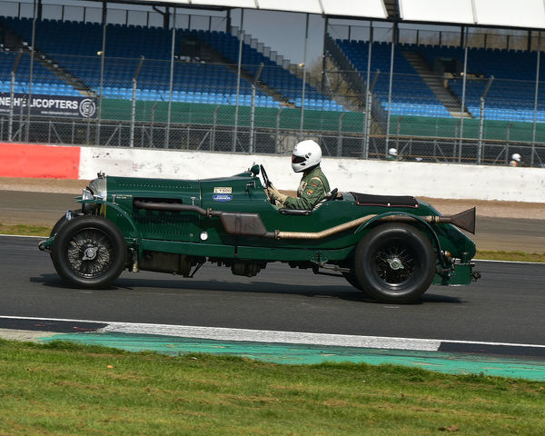 Peter Little, Gerry Buggy, Bentley 3/4? Litre, Benjafield 100, 100 Years of Bentley, April 2019, Silverstone, Northamptonshire, England, circuit racing, classic cars, Formula Vintage, historic cars, historic motorsport, Historic Racing, motor racin
