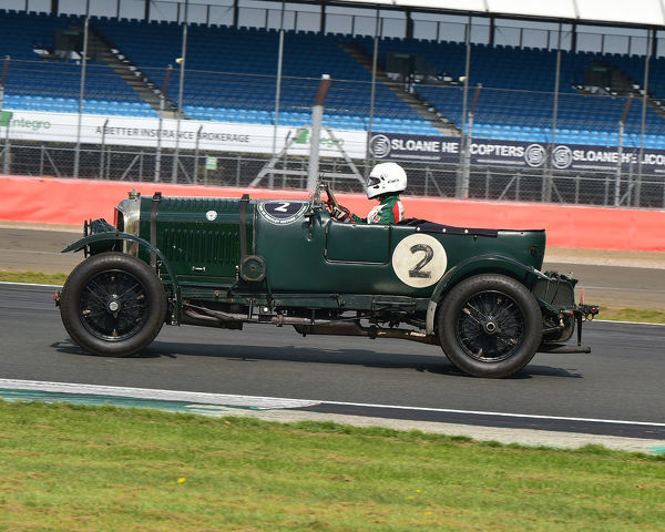 Christopher Lunn, Bentley 4? Litre, Benjafield 100, 100 Years of Bentley, April 2019, Silverstone, Northamptonshire, England, circuit racing, classic cars, Formula Vintage, historic cars, historic motorsport, Historic Racing, motor racing, motor spor