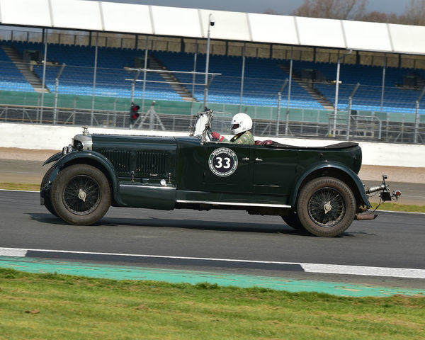 Chris Guest, Dan Guest, Bentley Speed Six Tourer, Benjafield 100, 100 Years of Bentley, April 2019, Silverstone, Northamptonshire, England, circuit racing, classic cars, Formula Vintage, historic cars, historic motorsport, Historic Racing, motor racing