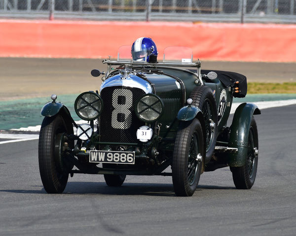 Andrew Hayden, Bentley 4? Litre, Benjafield 100, 100 Years of Bentley, April 2019, Silverstone, Northamptonshire, England, circuit racing, classic cars, Formula Vintage, historic cars, historic motorsport, Historic Racing, motor racing, motor spor