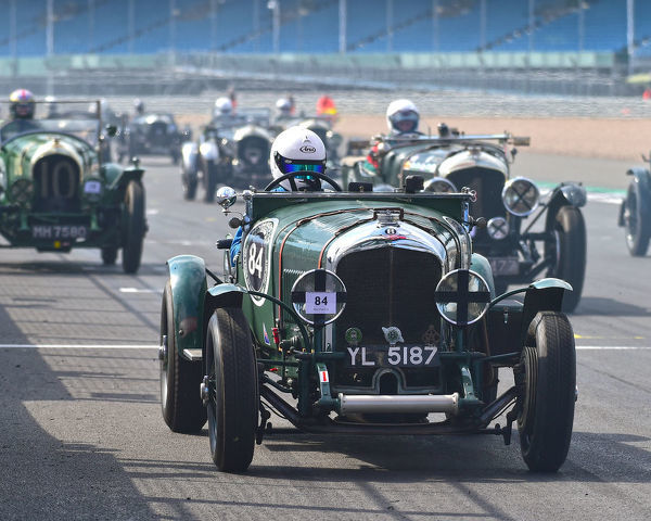 Neil Sandwith, Bentley 3-4? litre, Benjafield 100, 100 Years of Bentley, April 2019, Silverstone, Northamptonshire, England, circuit racing, classic cars, Formula Vintage, historic cars, historic motorsport, Historic Racing, motor racing, motor spor