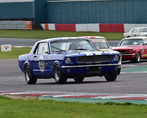 Michael Squire, Ford Mustang, HRDC Coys Trophy, Touring Cars 1958 to 1966, Donington Historic Festival, May 2019, motor racing, motor sport, motorsport, Nostalgia, racing, racing cars, retro, cars, classic cars, classic event, Classic Racing Cars