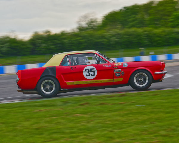 Mark Burton, Ford Mustang, HRDC Coys Trophy, Touring Cars 1958 to 1966, Donington Historic Festival, May 2019, motor racing, motor sport, motorsport, Nostalgia, racing, racing cars, retro, cars, classic cars, classic event, Classic Racing Cars