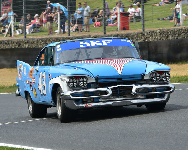 Jasper Izzaaks, Plymouth Fury, Bernies V8s, Classic US Muscle Cars, American Speedfest VII, Brands Hatch, June 2019, automobiles, Autosport, cars, circuit racing, England, entertainment, Kent, motor racing, motor sport, motorracing, racing, track racing