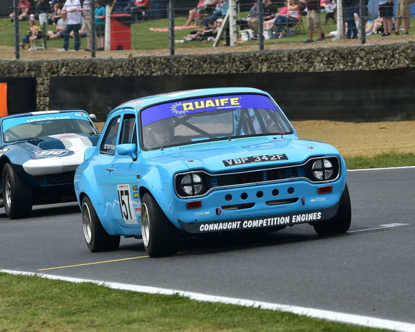 Tony Paxman, Ford Escort Mk 1, Bernies V8s, Classic US Muscle Cars, American Speedfest VII, Brands Hatch, June 2019, automobiles, Autosport, cars, circuit racing, England, entertainment, Kent, motor racing, motor sport, motorracing