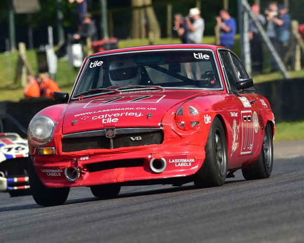 Barry Holmes, MGB GT V8, Bernies V8s, Classic US Muscle Cars, American Speedfest VII, Brands Hatch, June 2019, automobiles, Autosport, cars, circuit racing, England, entertainment, Kent, motor racing, motor sport, motorracing