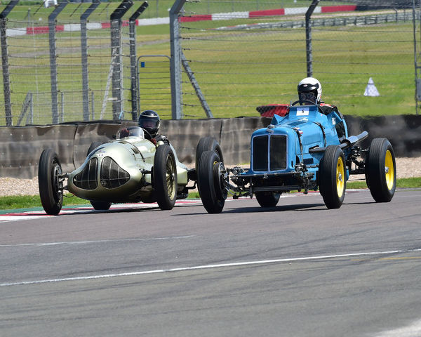 Paddins Dowling, ERA R5B, Duncan Ricketts, ERA E-Type, Historic and Vintage Seaman Trophies Race, Formula Vintage, Round 3, Donington Park, England, June 2019, circuit racing, classic cars, Formula Vintage, historic cars, historic motorsport