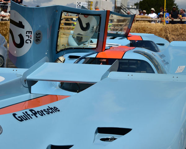 A pair of Porsche 917's and a Ford GT40 in Gulf livery, Goodwood Festival of Speed, 2019, Festival of Speed, Speed Kings, Motorsport's Record Breakers, July 2019, Motorsports, automobiles, cars, entertainment, Festival of Speed