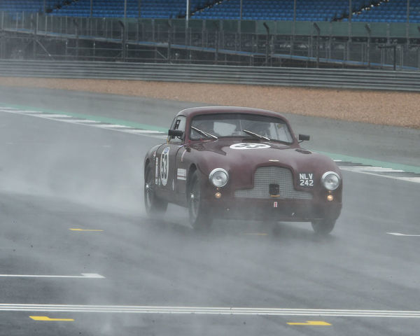 Racing through the spray, David Reed, Peter Snowdon, Aston Martin DB2, Royal Automobile Club Woodcote Trophy, Stirling Moss Trophy, Silverstone Classic, July 2019, Silverstone, Northamptonshire, England, circuit racing, cjm-photography