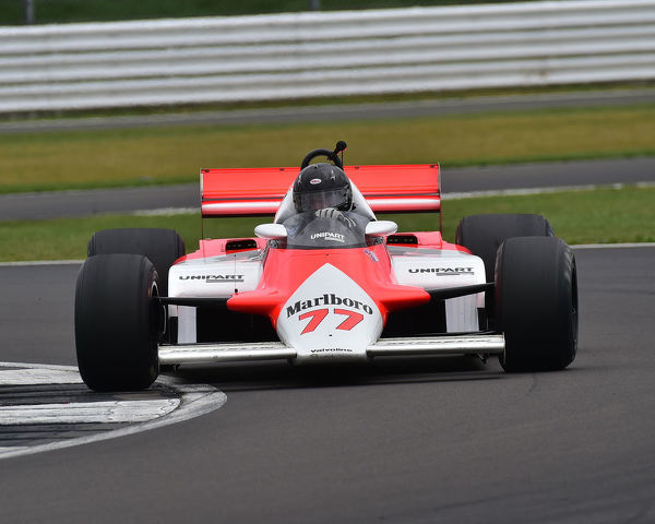 Steve Hartley, McLaren MP4/1, Sir Jackie Stewart Trophy for FIA Masters Historic Formula One, Silverstone Classic, July 2019, Silverstone, Northamptonshire, England, circuit racing, cjm-photography, Classic Racing Cars, competition