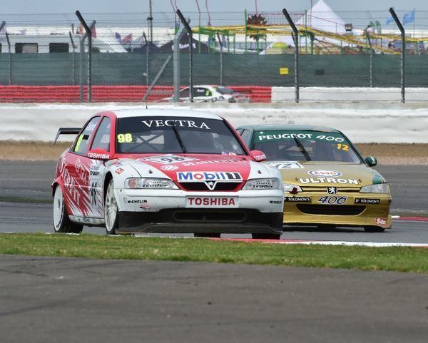 John Cleland, Vauxhall Vectra, Patrick Watts, Peugeot 406, Super touring cars, Silverstone Classic 2014, 2014, Classic Racing Cars, historic racing cars, HSCC, Jet, Jet Super Touring Car Trophy, July 2014, motor racing, motorsport, Northamptonshire