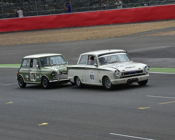 John Avill, Ford Lotus Cortina, Nick Swift, Mini Cooper S, Mustang Celebration Trophy, Pure Michigan, Silverstone Classic 2014, Classic Racing Cars, historic racing cars, HSCC, July 2014, motor racing, motorsport, Mustang Celebration Trophy