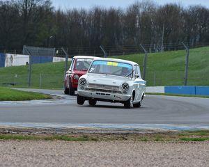 CM1 4957 Tom Andrew, Ford Lotus Cortina, on three wheels